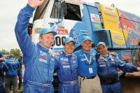 Rally Raid Dakar - Finish! Four Kamaz trucks on a podium